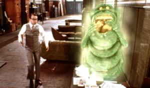 Rick Moranis and Slimer in Ghostbusters II