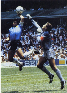 Honorary Scotsman, Diego Maradona, in action against the Auld Enemy