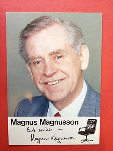 Magnus Magnusson, the former host of British TV quiz show, Mastermind