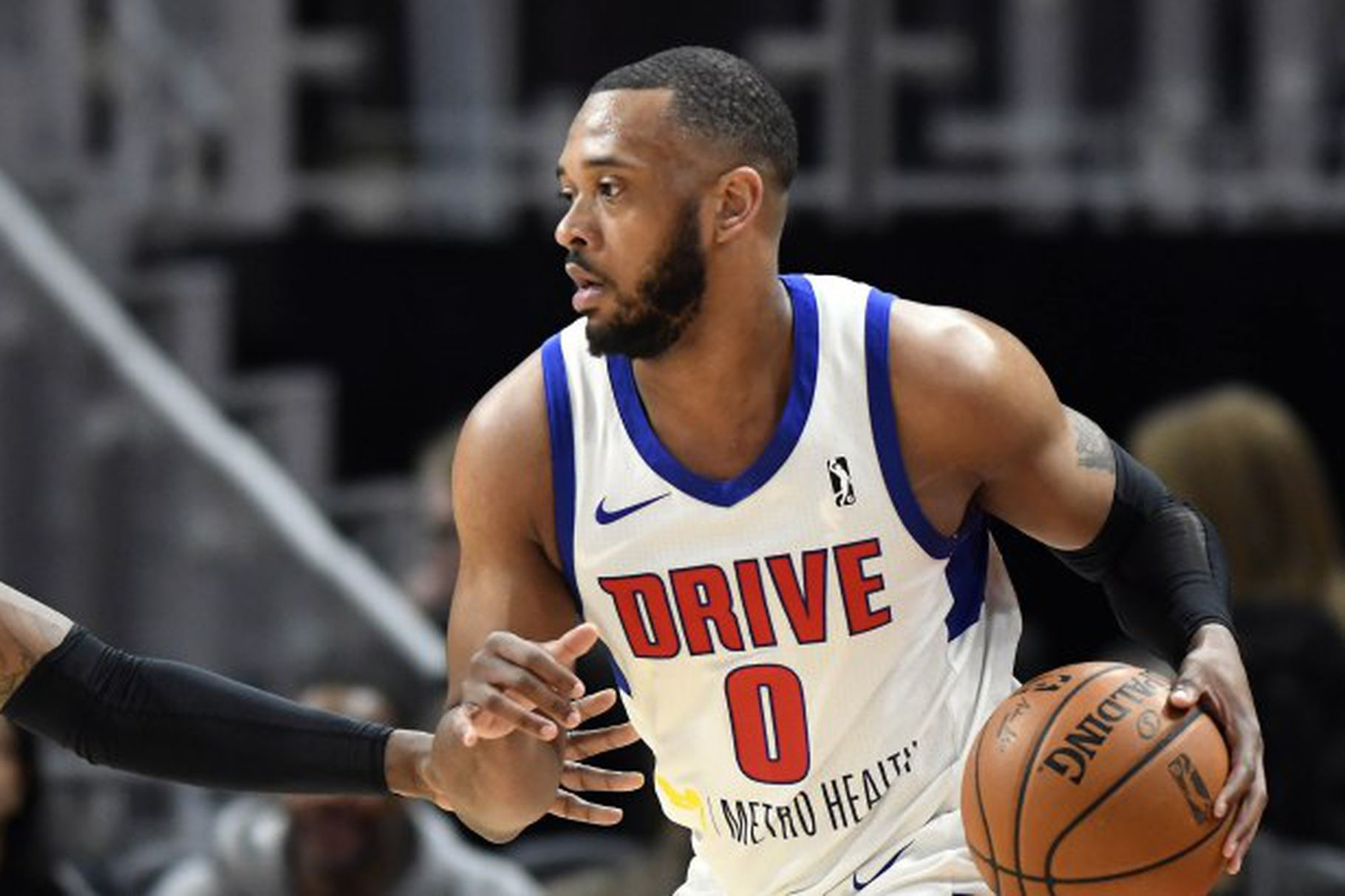 Zeke Upshaw playing for the Grand Rapids Drive