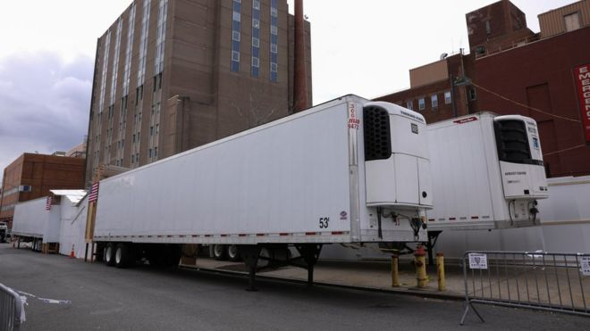 Mobile morgues (freezer trucks) lined up outside a New York City hospital to receive the victims of the Coronavirus pandemic.