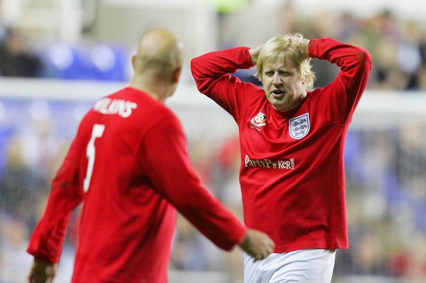 Jeez, Gazza's looking a bit rough | Boris Johnson in an England football strip playing Germany in a charity match