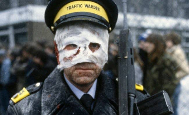 Dude. You're wearing that facemask all wrong | The bandaged traffic warden from 1984 BBC apocalyptic drama Threads